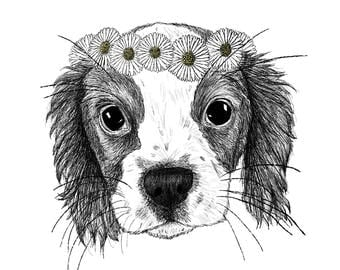 Custom Pet Portrait Luxury Pen & Ink Illustration Print - A5 or A4
