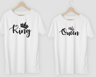 Queen and King Matching couple T-Shirts  Wife Husband Tops Tee Tshirts Girlfriend Boyfriend Couples Gift valentines day gift Present T-Shirt