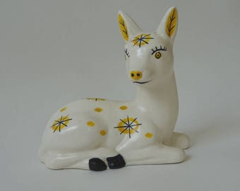 Baby deer or fawn retro ornament, like Bambi or Babycham, 1950s