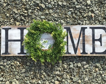 HOME sign with boxwood wreath Rustic Country Home Decor farmhouse rustic style signs wooden sign painted & distressed