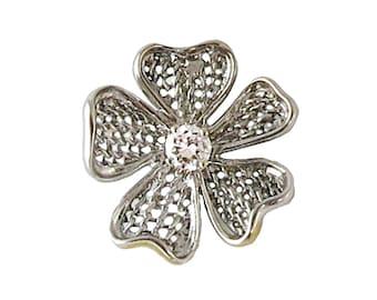 Vintage Platinum and Diamond Dogwood Flower Pendant