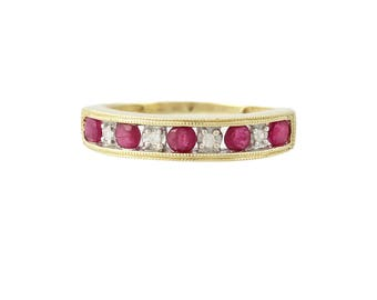 Vintage Ruby And Diamond Ring / Band