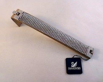 "Authentic Elegant Swarovski Crystal Bracelet- 3/4"" Wide & 7 1/4"" Long"