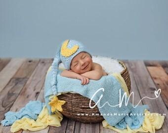 MOON and STAR Newborn Baby Boy or Girl crochet  Night cap Elf Hat  ..Newborn Photo Prop. crochet baby shower gift ...  Newborn Boy