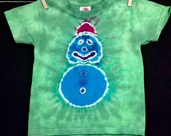 Toddler Tie Dye Shirt,Tie Dye Snowman, Size 3T, Kids Snowman Tee,Christmas T-shirt, Gifts For Kids,Kids Tie Dye, Christmas Star, Toddler Tee