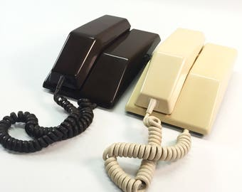 Retro Contempra Rotary Telephone in Beige Ivory or Chocolate Brown Phone