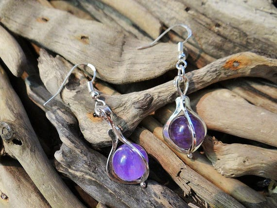 Amethyst Gypsy Magic Crystal Ball Sterling Silver .925 Earrings Quartz Crystal Boho Hippie Wicca Pagan Full Moon Earring Ear Ring Rings