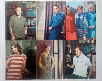 Vintage cards Soviet fashion 1973 USSR Retro Fashion Set of 13