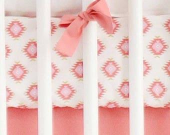 Aztec Baby in Coral Crib Baby Bedding | Crib Sheet
