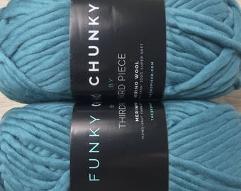 Quick Knit FUNKY CHUNKY Luxe Merino Wool Super Bulky Yarn - Spearmint Teal - 82yd 200g - 15.99+1.99ea to Ship + 4 Quick Patterns! MSRP 30.00