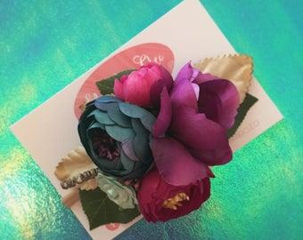 Floral headband, jewel tones, boho baby, boho wedding, photo prop
