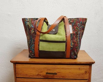 Lime green leather tote bag and designer upholstery fabric