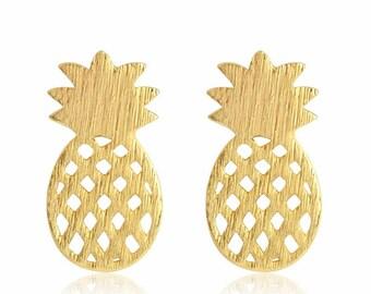 Pineapple - Golden - pineapple - jewellery - nature - fruit earrings