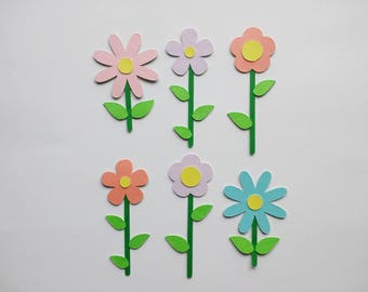 Paper Flowers - Flower Die Cuts - Flower Embellishment - Card Decorations - Flower Cutouts - Scrapbook Decor - Party Decor - Set of 6