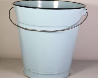Big Vintage Enamel Bucket