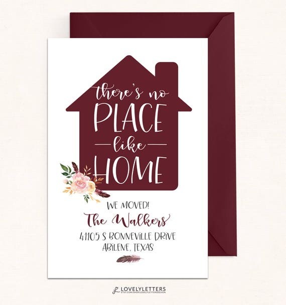 floral we moved card digital we moved postcard no place like