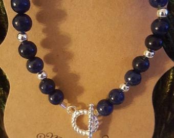 Lapiz lazuli bracelet with toggle closure