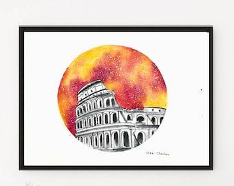 Colosseum Painting, Starry Night, City Print, Italy art, Illustration, Watercolor art, Rome painting, Travel art, Modern art, Travel poster