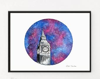 Big Ben, Watercolor Painting, London Print,  Starry Night, Watercolor print, Big Ben Wall art, Travel Illustration, Gift ideas, City print