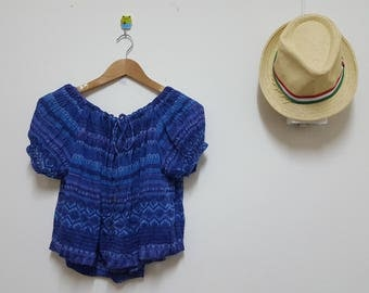 FREE SHIPPING,Free Size , elastic neck, sleeve, crop top, Boho, India crop, Summer top