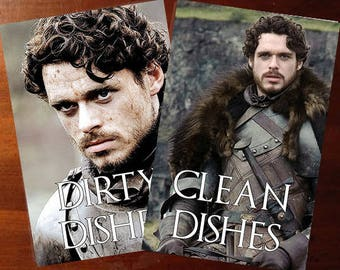 Robb Stark  | Game of Thrones Reversible Dishwasher Magnet | Geek Kitchen | Clean Dirty Magnet | Game of Thrones