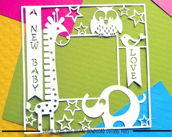 New baby animal photo frame paper cut svg / dxf / eps / files and pdf / png printable templates for hand cutting. Digital download.