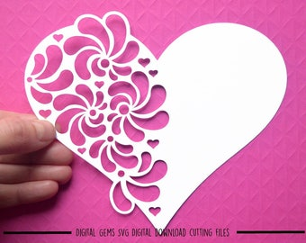 Heart paper cut svg / dxf / eps / files and pdf / png printable templates for hand cutting. Digital download. Commercial use ok