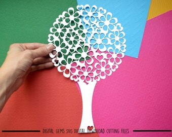 Tree paper cut svg / dxf / eps files and pdf / png printable templates for hand cutting. Digital download. Small commercial use ok.