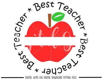 Best teacher apple svg / dxf / eps / png files. Digital download. Compatible with Cricut and Silhouette machines. Small commercial use ok