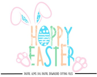 Hoppy Easter svg / dxf / eps / png files. Digital download. Compatible with Cricut and Silhouette machines. Small commercial use ok