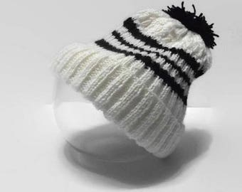 Men black and white wool hat