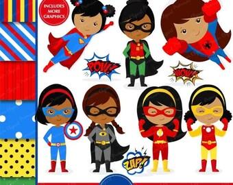 80% OFF SALE African American superhero clipart, supergirl clipart, superhero girl clipart, superhero costume, superheroes - CL145