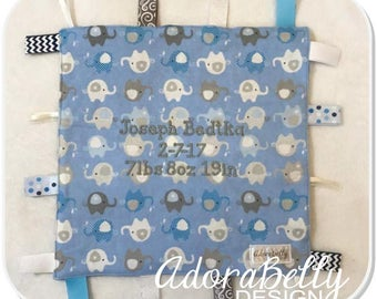 Blue Elephant Puzzle Lovey Tag Blanket AdoraSquare Personalized