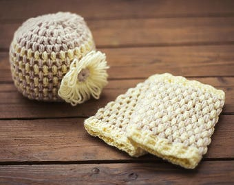 Baby girl hat and leg warmers/Newborn hat for Girl/Crochet baby hat with flower/Crochet wool hat/Flower baby hat/leg warmers/Baby Girl hat