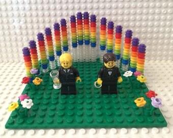 Gay Lesbian Wedding Cake Topper Couple Minifigures Rainbow Backdrop Wedding Gift Favor