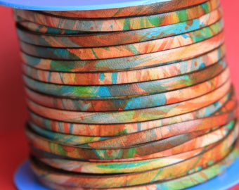 MADE in EUROPE 24'' multi color leather cord, 5mm flat leather cord, 5mm flat leather cord (vm5mulsav)
