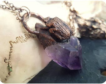 Amethyst scarab electroformed crystal pendant necklace ~ copper female scarab beetle purple circle chain patina