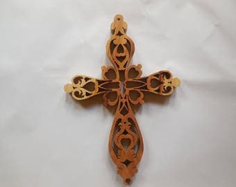 Wooden cross made of rustic hickory, ornate hart wood wall cross. Rustic hickory crucifix