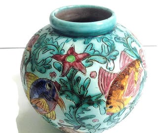 french vintage Monaco Cerart ceramic vase, mid century vase, 1950's, kitsch vase made in france