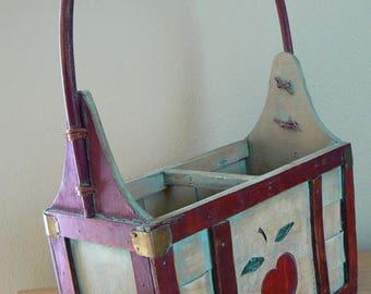 ON SALE Vintage Wood Apple Basket, Wood Apple Box w Handle, Woven Wood Basket Tote