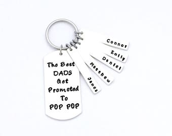 The Best Dads Get Promoted - Gift for Grandfather - Gifts for Grandpa - New Grandpa - Personalized Keychain - Fathers Day Keychain