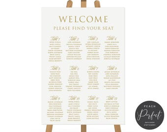 Gold and White Wedding Seating Chart, Printable DIY or Professionally Printed, Wedding Signage, Monogram Suite, Peach Perfect