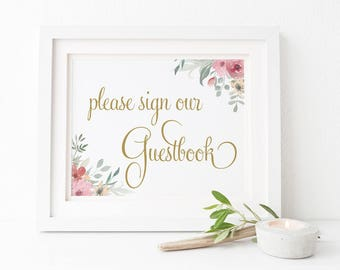 Sign our Guestbook Wedding Sign, Pink and Gold Flower Printable Wedding Sign, 2 sizes, Instant Download, Peach Perfect Australia