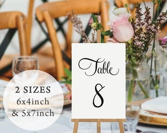 Wedding Table Numbers, Black and White, Printable Instant Download, Digital Wedding Table Cards, 6x4inch 5x7inch, Annabel Suite