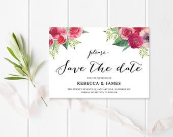 Wedding Save The Date, Red Flower Invitation, Rose Invites, Printable or Professionally Printed, Floral Affair, Peach Perfect