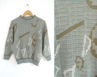 70s abstract print sweater acrylic knit sweater gray & taupe brown sweater light pullover sweater band collar womens jumper small