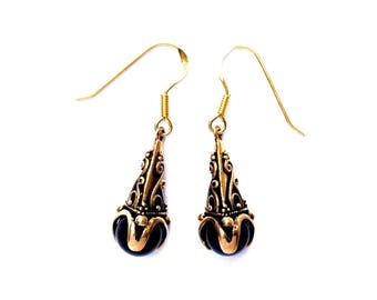 Gotland Earrings Onyx VIKING KRISTALL bronze