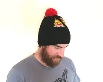 Pizza hat. Handmade chunky knit yellow, red and black bobble hat/beanie