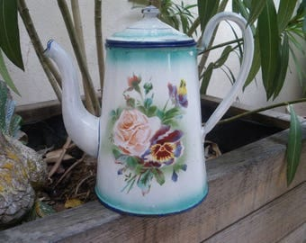 Vintage french enamel coffee pot, Enamelware, Flowers, Antique home decor, Rustic kitchen, Cafetiere émaillee/ 1910/1920/ Art nouveau