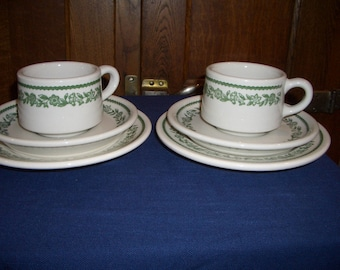 Vintage Buffalo China Diner Restaurant Ware...2 Cups, 2 Saucers, 2 Plates...White with Green Floral Trim...Kenmore Pattern